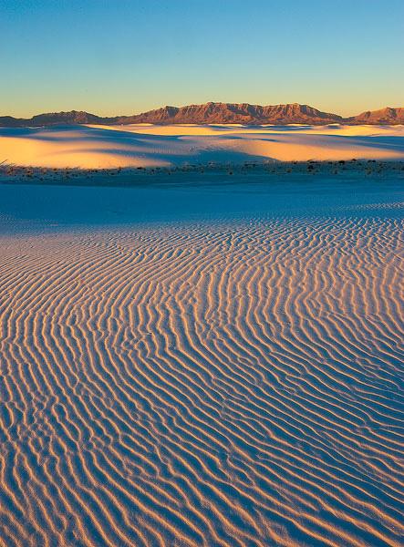 Spectacular sunrise light at White Sands National Monument