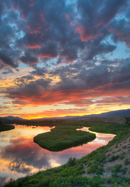 Sunset over the Green River in Browns Park, Colorado
