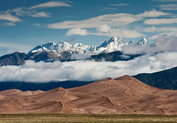 mountains,Colorado,snow,dunes, Great Sand Dunes national Park, national parks,               	, photo