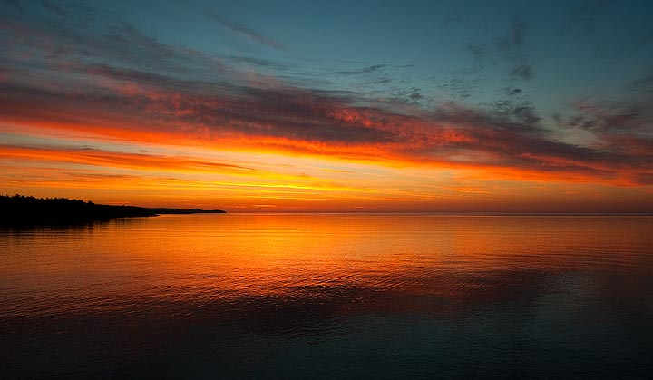 Sunrise over Lake Superior on the summer solstice