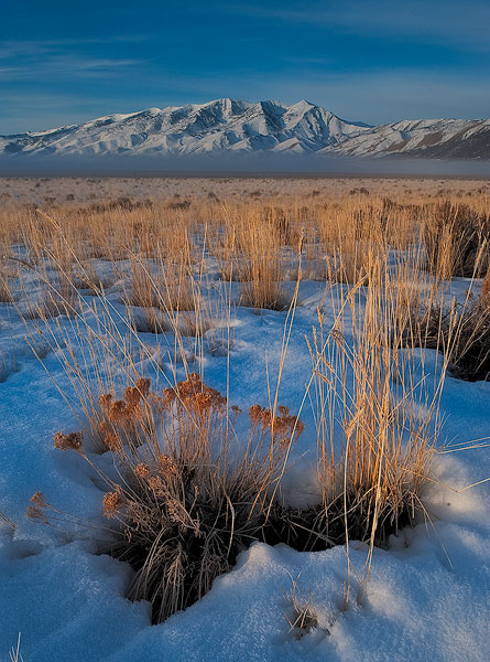 Early morning light illuminates the Ruby Mountains on a cold Winter morning