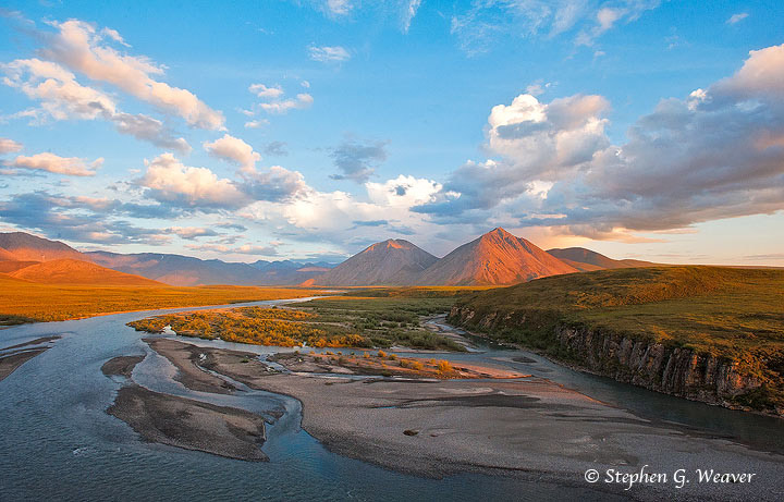 Very early morning ( 2:00AM) light on the Canning River and peaks of the Brooks Range in the the Arctic National Wildlife Refuge...