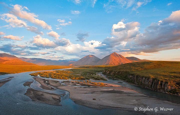Canning River, Brooks Range, Alaska, ANWR, morning light, Arctic National Wildlife Refuge, photo
