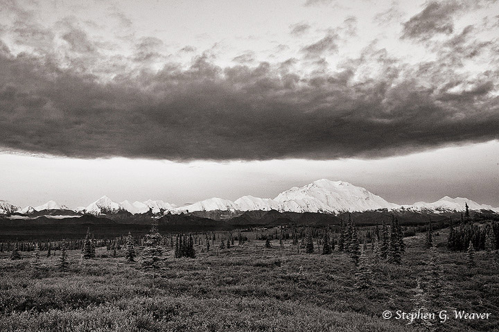 Denali, Mt McKinley, Denali NP,cloud, B&W, Alaska, photo