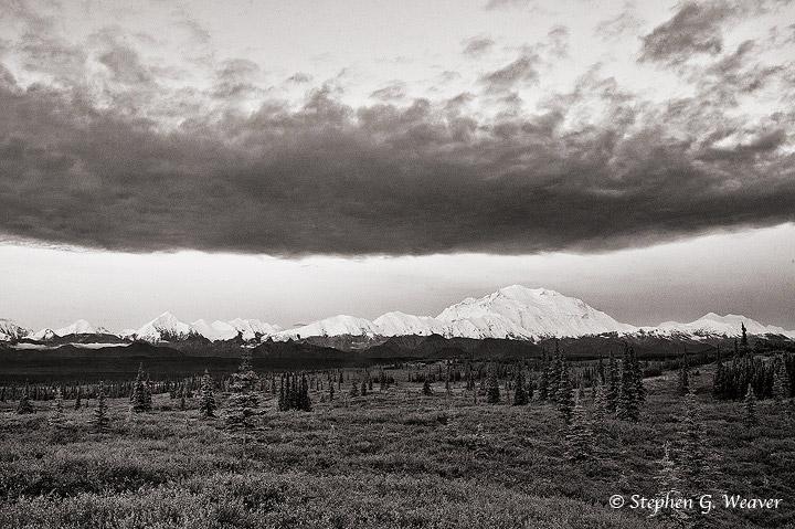 Denali, Mt McKinley, Denali NP,cloud, B&W, Alaska, photo