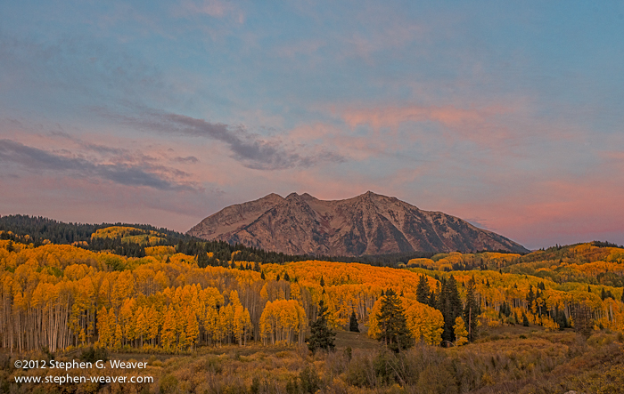 Fall sunrise on East Beckwith Mountain