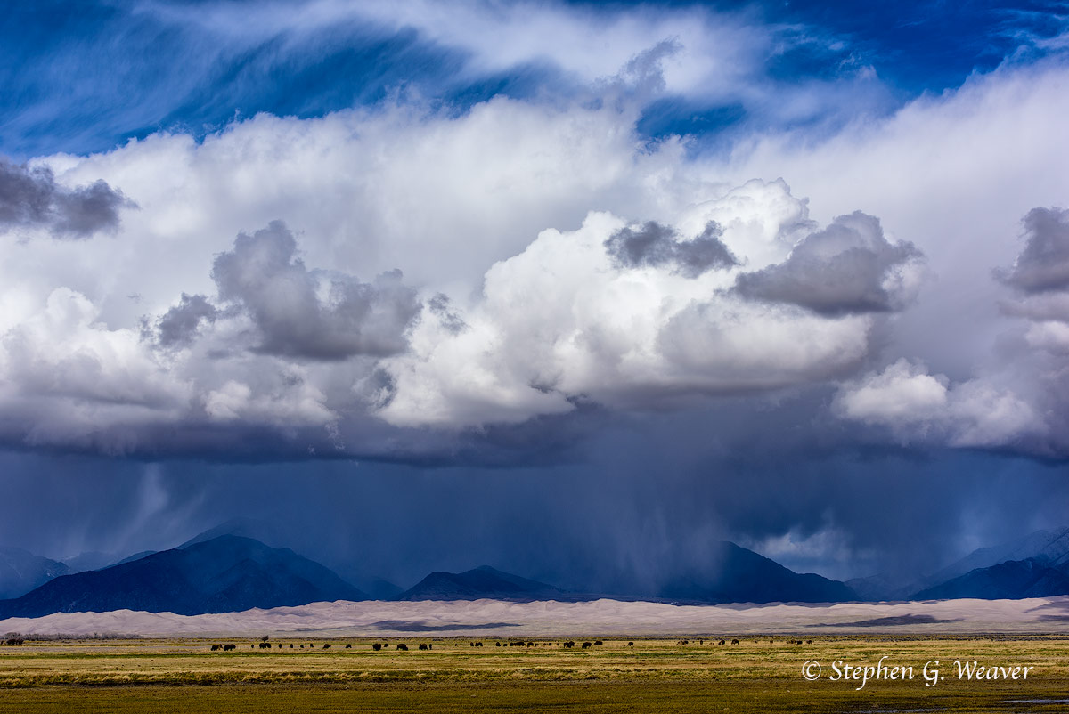 clouds, storm, Medano Ranch, Nature Conservancy, bison, Sangre de Cristo Mountains, Colorado, Great Sand Dunes NP, photo