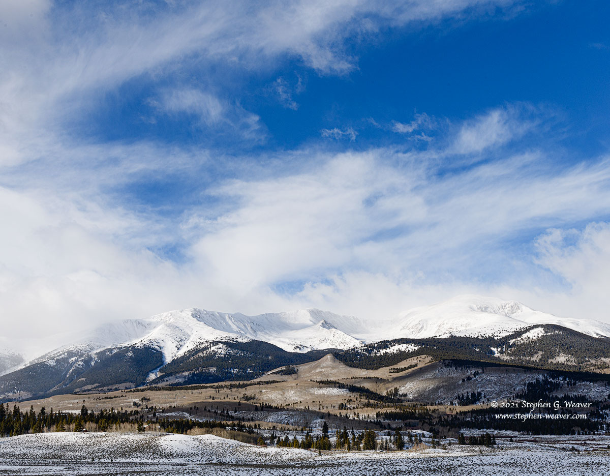 The highest peak in Colorado covered in Winter snow