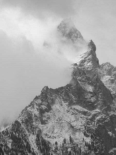 Teton NP, Teton National Park, Tewinot, clouds, snowstorm, Wyoming, mountains              	, photo