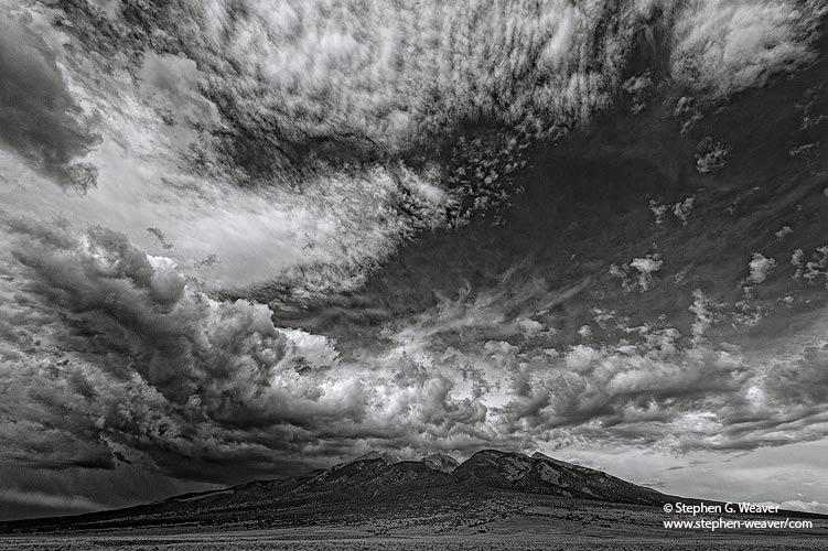 Sangre de Cristo Range, San Luis Valley, Colorado, Blanca peak, clouds, , photo
