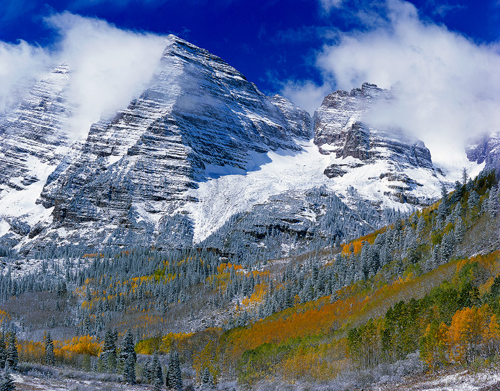 Colorado,mountains, Maroon Bells,snow, 4x5, 14,000, Fourteeners,aspens,Fall color, Autumn, photo