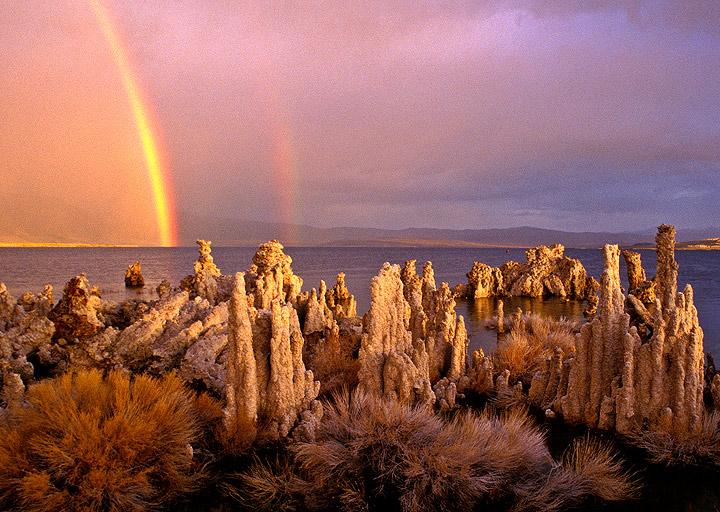 rainbow,Mono Lake,tuffa,California              , photo